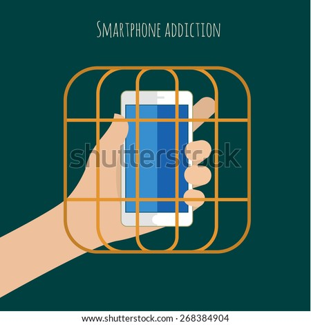 Concept of smartphone addiction. Hand with the phone in the cell. Flat design vector illustration - stock vector