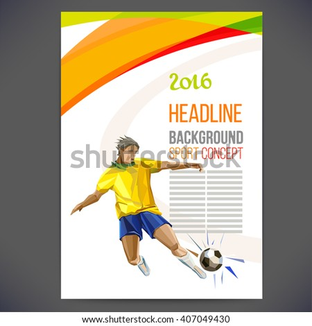 Concept of soccer player with colored geometric shapes assembled in figure football.Concept flyer 2016. football game. Isolate vector. euro championship. - stock vector