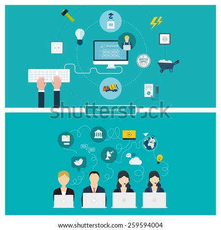 Concept of social media network, project management, time management, marketing research, strategic planning, building construction, household power professional electrician and electricity.  - stock vector