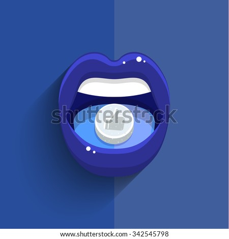 Concept of social media. Woman taking pill with symbol of like. Close-up of young woman holding pill on her tongue. Flat design, vector illustration. - stock vector