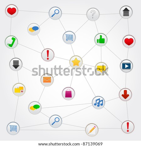Concept of social network with icons, vector illustration - stock vector