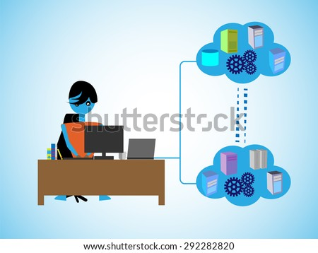 Concept of Software development with Cloud computing, Programmer Developing an cloud based applications by connecting different services, Systems in a public and private cloud network. - stock vector