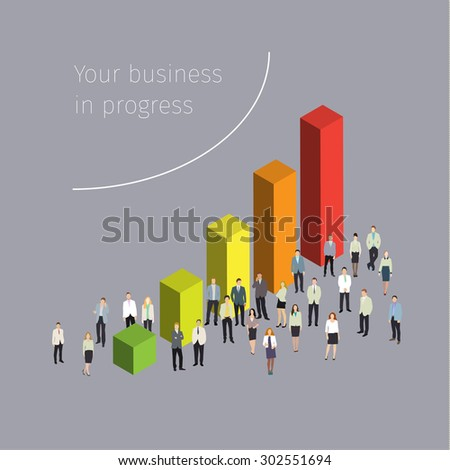Concept of success. People crowd with a graph. Flat design, vector illustration