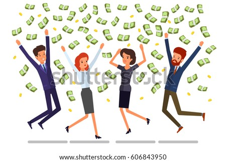 Concept of success. People jump and enjoy the rain out of money. Flat design, vector illustration.