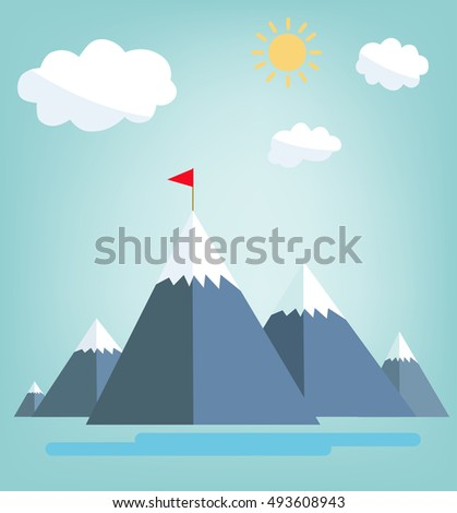 Concept of  success. Red flag on a Mountain peak.