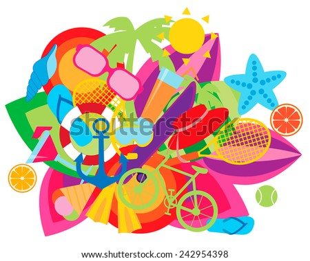 Concept of summer vacation. Sports and beach accessories. Vector illustration - stock vector