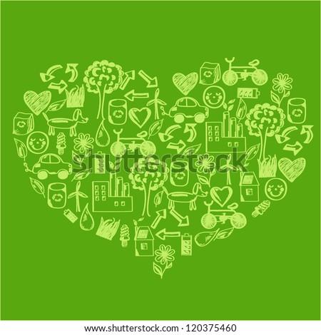 Concept of sustainable, eco, green development - stock vector