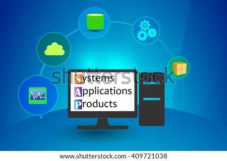 Concept of Systems, Applications and Products - stock vector