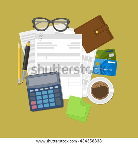 Concept of tax payment and invoice. Wallet, credit cards, calculator, pen, pencil, coffee, glasses, stickers for notes. Vector illustration. - stock vector