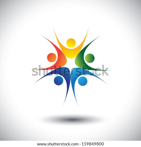concept of team celebrating success and jumping in joy. This unusual vector graphic also represents excited people, people dancing, school children or kids playing, colorful employees in circle - stock vector