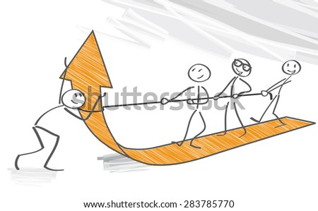 Concept of teamwork and corporate profit - vector illustration - stock vector