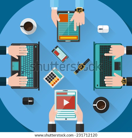 Concept of teamwork consulting on briefing, small business project presentation, group of people planning, brainstorming idea of company financial strategy top view background in flat design style - stock vector