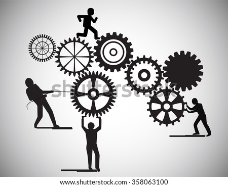 Concept of Teamwork, people building gear wheels, this also represents business partnership, unity, team working on building software applications, construction, career, group building cogwheels - stock vector