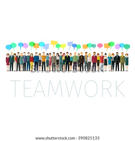 Concept of teamwork. People with colorful speech bubbles in flat style. Business social networking and communication.