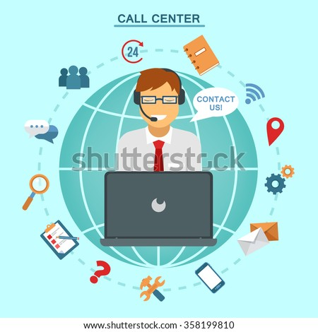 Concept of Technical Online Support Call Center. Computer Remote Nonstop Support Service. Vector illustration in flat style - stock vector