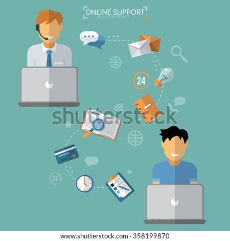 Concept of Technical Online Support. Computer Remote Nonstop Support Service. Vector illustration in flat style - stock vector