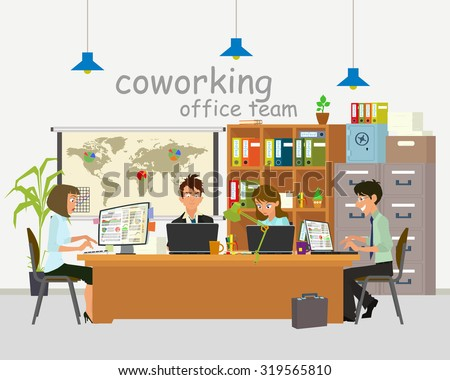 Concept of the coworking center. Business meeting. Shared working environment. people work, discuss and communicate in the office. Vector illustration. open space office building with working people. - stock vector