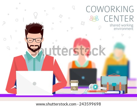 Concept of the coworking center. Shared working environment. People talking and working  at the computers in the open space office. Flat design style.  - stock vector