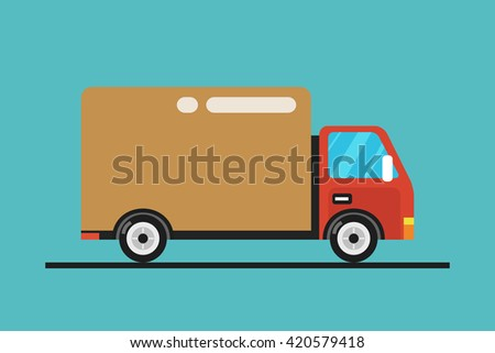 Concept of the delivery service. Illustration of fast shipping. Flat vector illustration Truck.