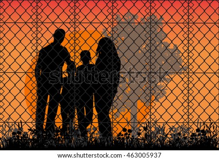 Concept of the family of refugees. Silhouette of refugee families near the fence, vector, nature