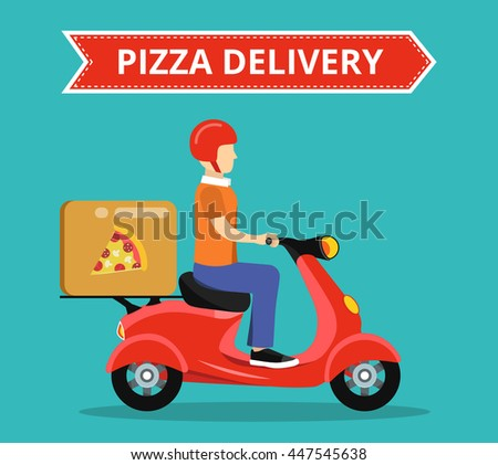 Concept of the fast pizza delivery service on scooter or motorbike. Flat vector illustration. - stock vector