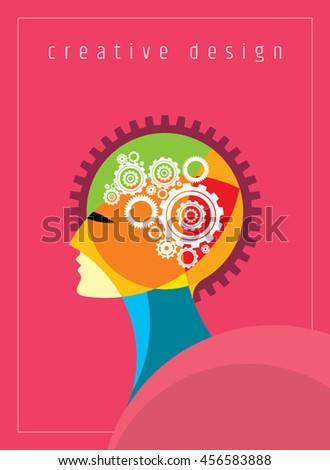 Concept of the functioning of the human body and the brain with gears - stock vector