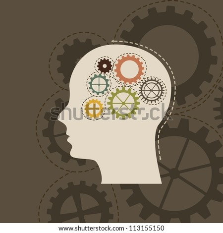concept of the functioning with gears, vintage. vector illustration - stock vector