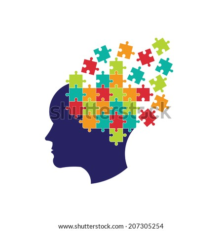 Concept of thought to solve brain. Vector icon - stock vector