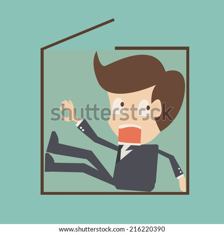 Concept of tight work with a businessman inside a carton