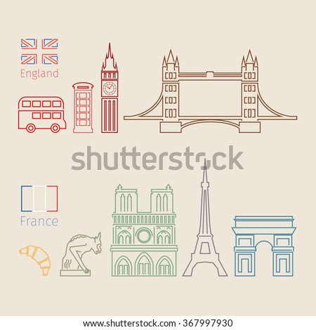Concept of travel or studying English. English and French flags with landmarks. Flat design, vector illustration