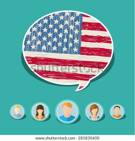 Concept of travel or studying English. Speech bubble with hand drawn American flag. Flat design, vector illustration - stock vector