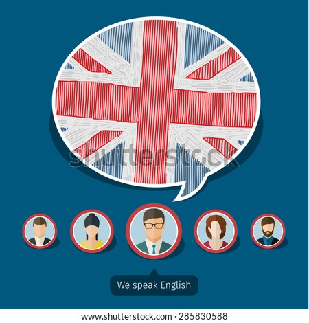 Concept of travel or studying English. Speech bubble with hand drawn English flag. Flat design, vector illustration - stock vector