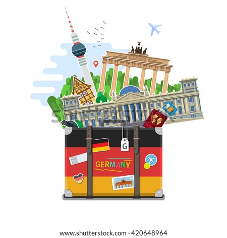 Concept of travel to Germany or studying German. German flag with landmarks in suitcase. Time to travel. Flat design, vector illustration - stock vector