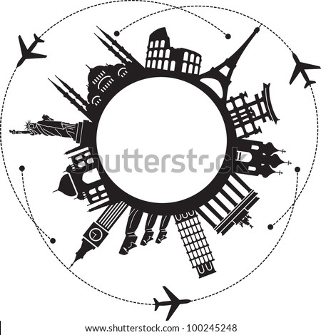 concept of traveling around the world. Famous international landmarks. - stock vector