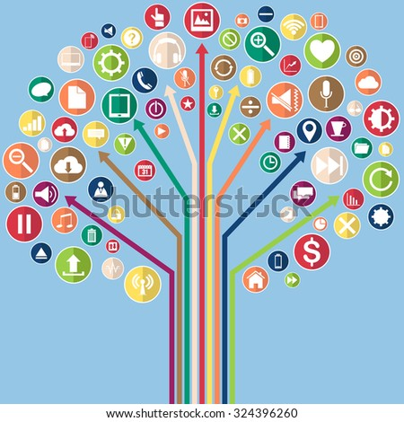 Concept of Tree with Vector Web icons, Business icons and Technology icons on notebook, Vector Illustration EPS 10. - stock vector