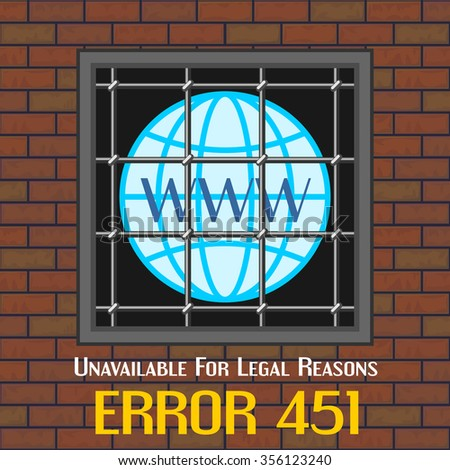 Concept of unavailable for legal reason error message with window of jail - stock vector