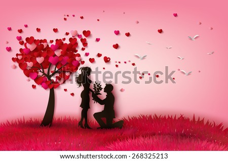 concept valentine day two enamored under stock vector 268325213, Ideas