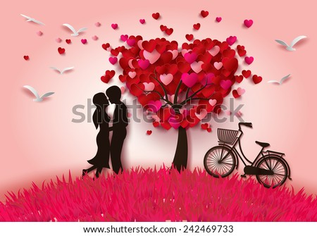 Concept of valentine day , two enamored under a love tree in the spring season,paper art and craft style.