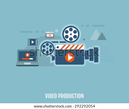 Concept of video production. Camera, video editor and laptop. Flat design. Vector Illustration. - stock vector