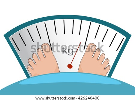 Concept of weight loss, healthy lifestyles, diet, proper nutrition. Fat man or woman standing on weight scale with heavy weight, vector. - stock vector