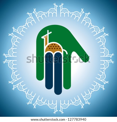 concept of wildlife icon in hand - stock vector