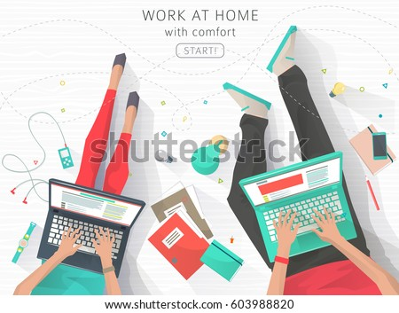 concept working home relaxation work wherever stock vector 603988820