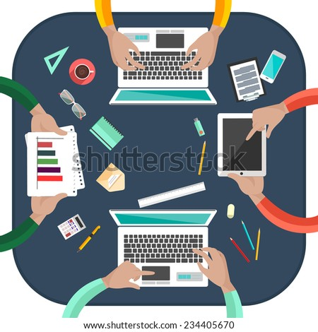 Concept of working process and workplace organization for business team. Top view of desk with businessman hands, laptops, computer, documents and different office objects in flat design - stock vector