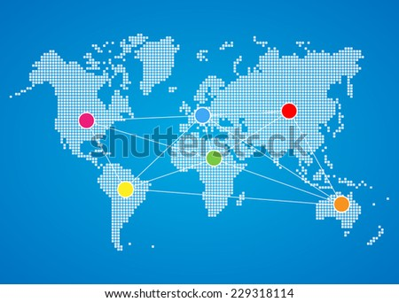 Concept of world map network - stock vector