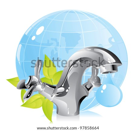 concept on the conservation of natural resources - water - stock vector