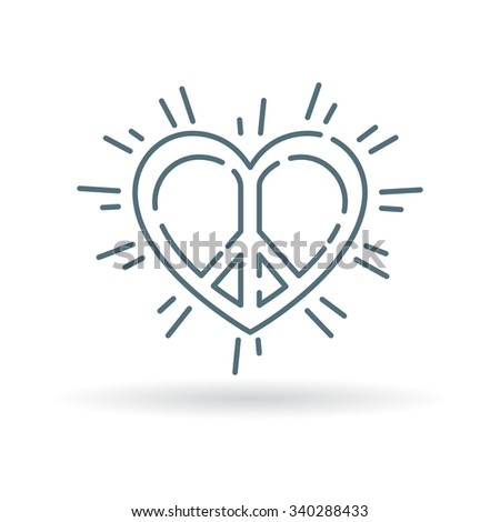 Concept Peace Heart Icon Peace Love Stock Vector 340288433