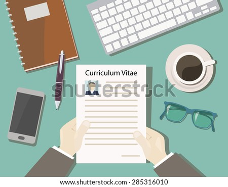 concept recruitment with a view of cv from the top - desk chief - stock vector