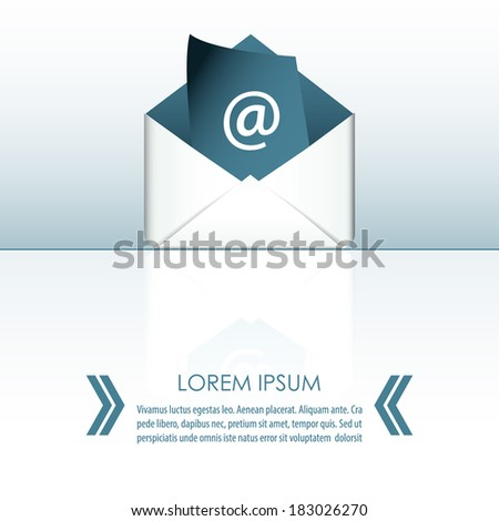 Concept representing email - envelope with paper sheet - stock vector