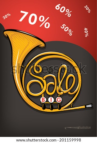 concept sale with french horn for poster design  - stock vector