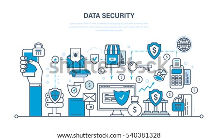 Concept - security and data integrity, data protection, security deposits, payments, guarantee the integrity of the information. Illustration thin line design of vector doodles, infographics elements.